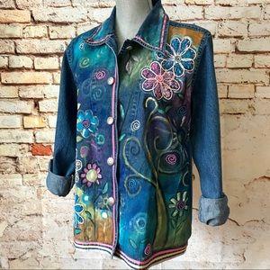 ef28ced148c Upcycled Hand Painted Denim Jacket
